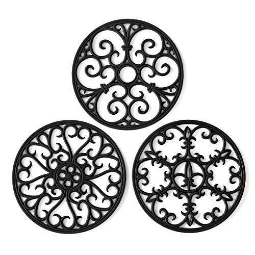 Silicone Trivet Mat - Hot Pot Holder Hot Pads for Table & Countertop - Teapot Trivet Kitchen Trivets - Non-Slip & Heat Resistant Modern Kitchen Hot Pads for Pots & Hot Dish Black Trivet Set of 3