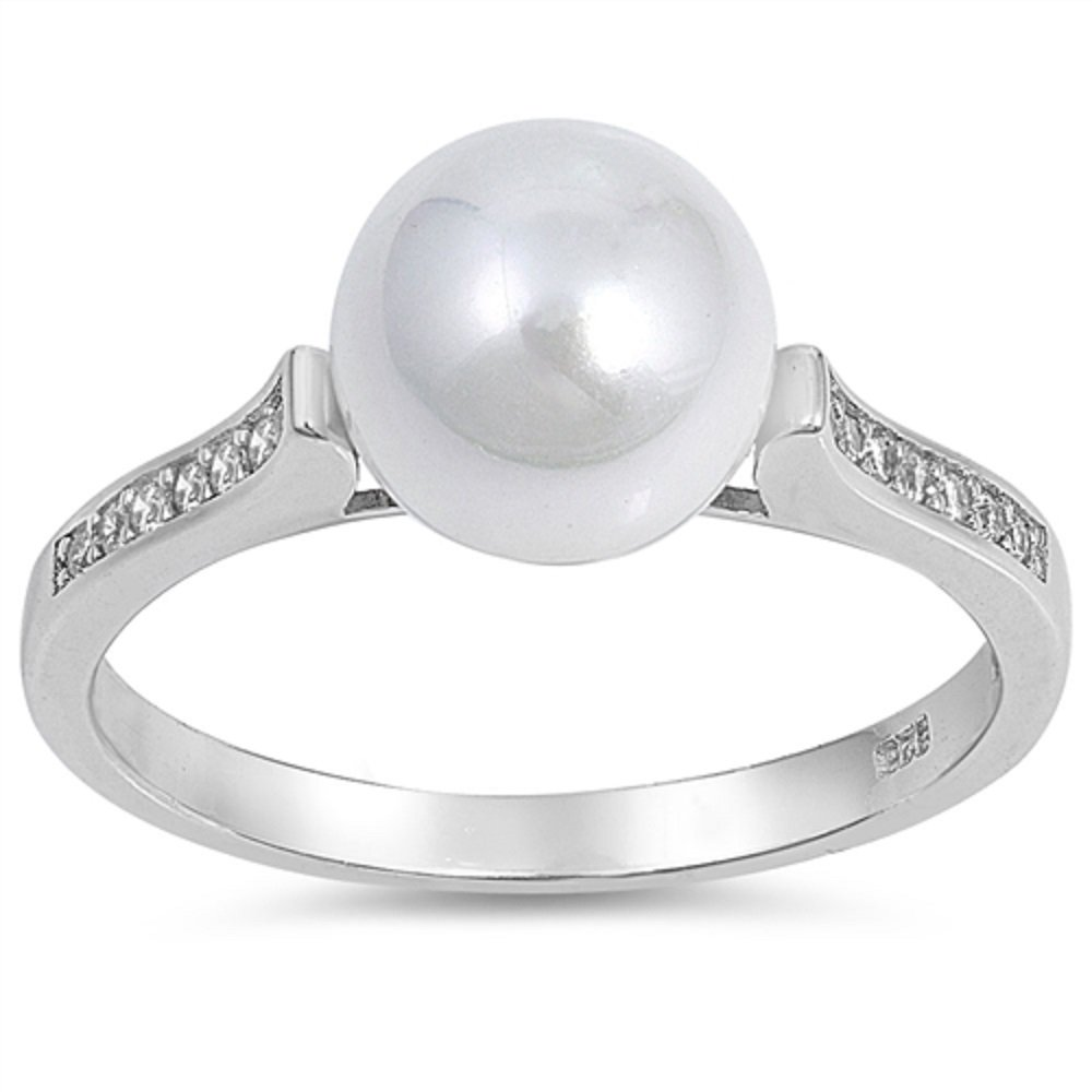 CloseoutWarehouse Simulated Pearl Center Cubic Zirconia Solitaire Ring Sterling Silver