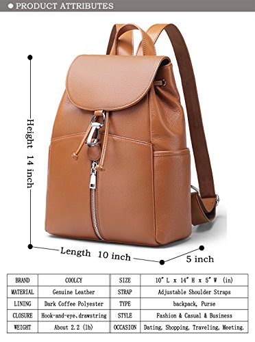 Real New vintage Backpack Genuine Women Leather Brown SchoolBag Purse Coolcy by Zwrqwp5F