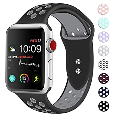Booyi Sport Band for Apple Watch 38mm 40mm 42mm 44mm, Sport Bands Soft Silicone Wristband Replacement Compatible for iWatch Apple Watch Series 4,3,2,1 Nike+,Sport,Edition-S/M M/L by Bandx