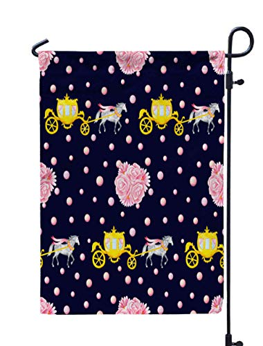 Shorping Welcome Garden Flag, 12x18Inch Pattern Watercolor Horses Isolated Dark Blue Background Bunches for Holiday and Seasonal Double-Sided Printing Yards Flags -
