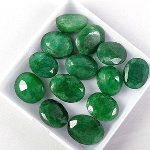 Natural Green Emerald (Special Offer ! 60 Ct./12 Pcs Natural Oval Cut Colombian Loose Green Emerald Gemstones Lot)