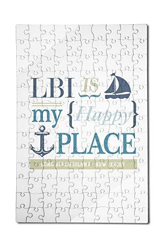 Long Beach Island, New Jersey - LBI Is My Happy Place (#2) (12x18 Premium Acrylic Puzzle, 130 Pieces) -  Lantern Press, LANT-3P-AC-PZ-51786-12x18