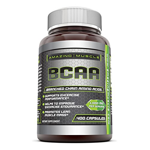Amazing Muscle BCAA Dietary Supplement 2:1:1 Branched Chain Amino Acid Ratio – 1000mg servings, 400 capsules – Best Workout Supplement for Women & Men