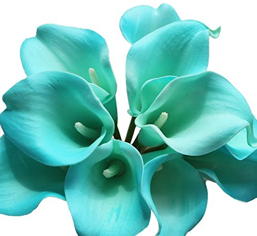 CalciferReal Touch Calla Lily Bridal Latex Wedding Bouquet Flower Bouquets (Turquoise, 20 Pcs) ()
