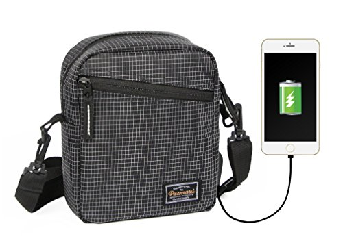 Travel with Charger Outdoor Crossbody Pacmaxi Port USB Purse Unisex Shoulder Bag Black ACRU4q
