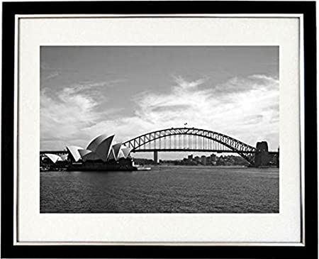 Sydney vista framed black white print of sydney harbour bridge and opera