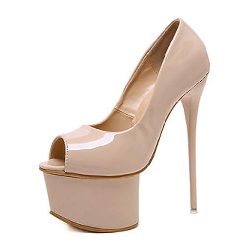 e48a9221dad Arriva Pu Gladiator Fetish Peep Toe Woman Pumps Club Party Platform Super  High Pumps 16CM Black Red  Amazon.ca  Shoes   Handbags
