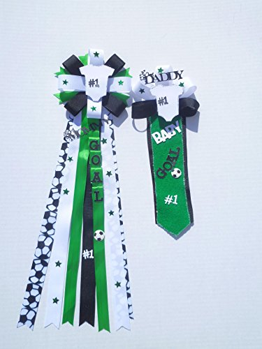 Soccer Theme Baby Shower Theme Corsage Mom & Dad (Black, White Green ) (Baby Feet Pin)