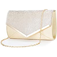 CurvChic Women Evening Bag Clutch Purse Rhinestone-Studded Flap for Wedding Prom Cocktail Party