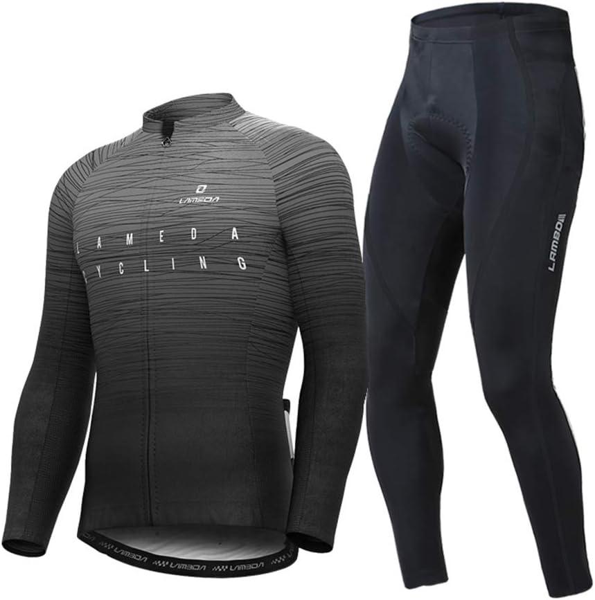 春と秋のライディングスーツのメンズシャツ長袖ズボン機器セットロードマウンテンバイク自転車服 フォグブラックトップ+シリコンクッションパンツ XXXL