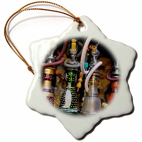 3dRose Spain, Andalusia, Granada Moroccan Hookahs for Sale in a Small Shop Snowflake Ornament, 3'' by 3dRose