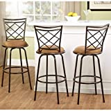 Bar Stools Set of 3 3-Piece Avery Ajustable Height Barstool, Multiple Colors-Brown