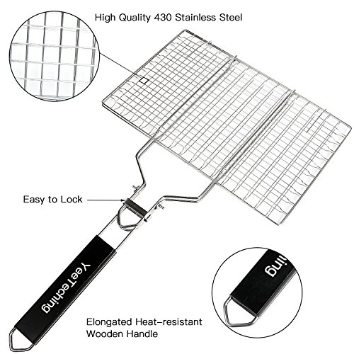 YeeTeching Grilling Basket [Upgraded], Portable Folding 100% Stainless Steel BBQ Barbecue Grill Basket for Fish, Vegetable, Steak, Shrimp with Removable Wooden Handle, Basting Brush, Gift Box