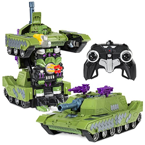 Best Choice Products Toy Transformer RC Robot Tank Remote Control Car w/ USB Charger - Green