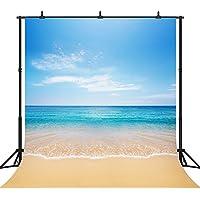 DePhoto 10x10Ft Seamless Beautiful Beach Vinyl Photography Backdrop Photo Background Studio Prop PGT082B