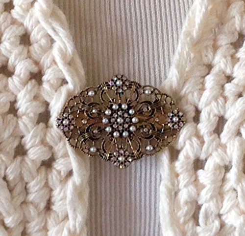 The mattie Antiqued Gold Tone Metal Filigree and Faux Pearl Sweater Clip - Filigree Gold Tone Antiqued