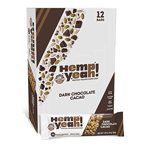 Manitoba Harvest Hemp Yeah! Bars, Dark Chocolate Cacao (12 Bars), 10g Plant Protein, Grain Free, Gluten Free, 6g Omegas 3&6