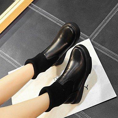 black Combinaison à la Automne 5 Similicuir Bottes 7 amp;xuezi à Femme GLL Décontracté Talon Noir cm Bas Hiver Bottes Mode Blanc nxqRTWpFw