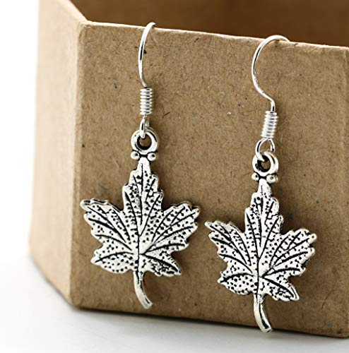 (Thanksgiving Fall Maple Leaf Dangle Earrings Sterling Silver Hooks - Leaves Jewelry - Autumn Themed Gifts for Women - Fast Shipping)