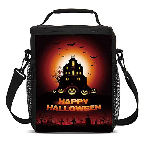 Halloween Fashionable Lunch Bag,Happy Halloween Haunted House Flying Bats Scary Looking Pumpkins Cemetery Decorative for Travel Picnic,One size]()