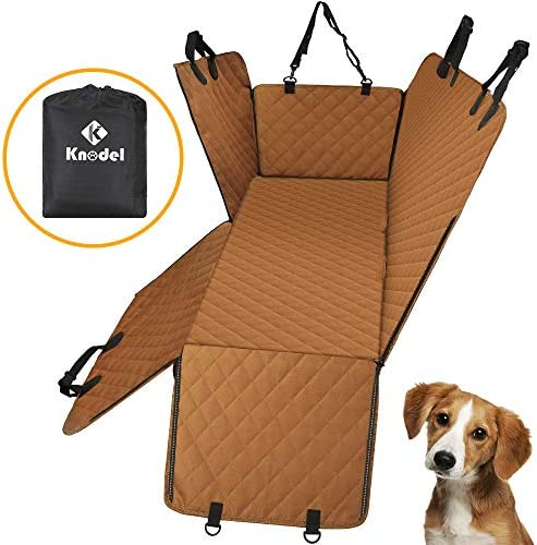 Knodel Dog Seat Cover, 100 Waterproof Car Seat Cover for Pets, Pet Seat Cover Dog Hammock, 600D Heavy Duty Scratch Proof Pet Back Seat Covers, Zippered Side Flaps for Cars, Trucks and SUVs Brown