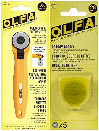 OLFA Rotary Fabric Cutter 28MM with 5 Blade Refill For Quilting, Sewing, and Crafts by OLFA
