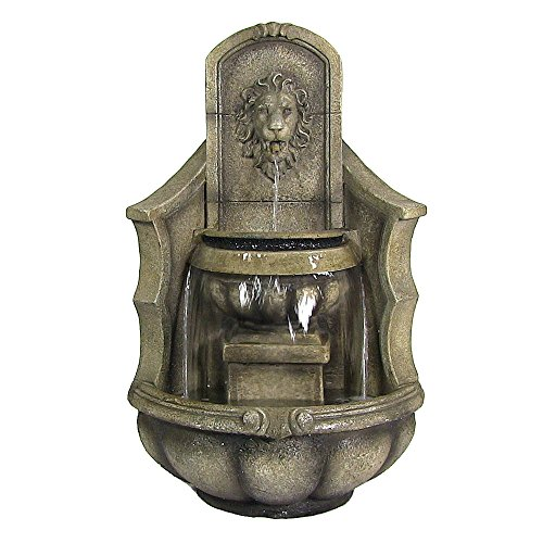 (Sunnydaze Regal Lion Head Outdoor Corner Fountain with LED Lights, 39.5 Inch)