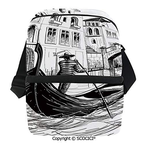 - SCOCICI Reusable Insulated Grocery Bags Gondola in Venice European Famous Canal History Mediterranean Holiday Image Thermal Cooler Waterproof Zipper Closure Keeps Food Hot Or Cold