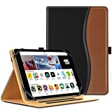 MoKo Universal Case for 9 - 10 Inch Tablet- Slim Folding Stand Folio Cover PU Leather Protective Case for 9 - 10 Inch Touchscreen Tablet with Document Card Slots and Stylus Pen Loop, Black & Brown