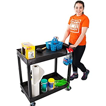 Original Tubstr 2 Shelf Utility Cart/Service Cart - Heavy Duty - Supports up to 400 lbs - Tub Carts w/Deep Shelves - Great for Warehouse, Garage, Cleaning and More! (32 x 18 / Black)