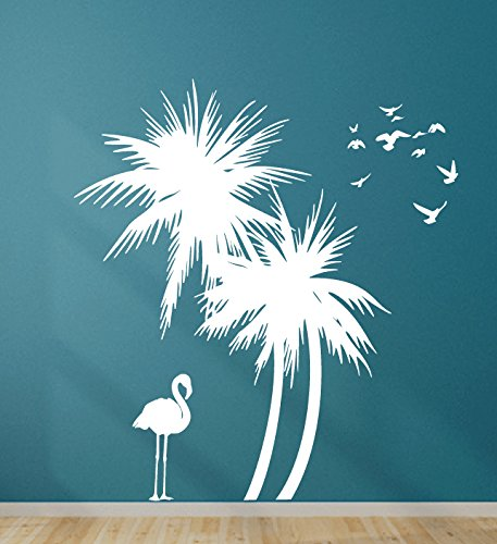 Digiflare Graphics Palm Trees Wall Decal with Flamingo and Birds Wall Decal Leaning to the left Art Sticker Mural ()