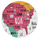 Farm Coffee Table Plans iPrint Eco-Friendly Round Tablecloth [ USA Map,American Cities Calligraphy on Plan Arizona New York Chicago Cartoon,Pink Marigold Teal White ] Fabric Kids Home Tablecloth Designs