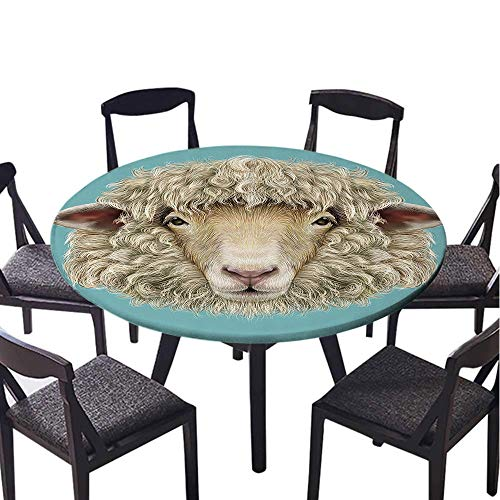 SATVSHOP 100% Polyester Spillproof Tablecloths-70 Round-Round Table Clothes,Humor Portrait of am Sheep Goat Head Meadow Mammal Hipster etro Style Graphic Art Turquoise Tan.(Elastic Edge)