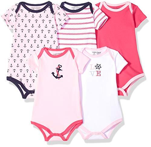 Luvable Friends Unisex Baby Cotton Bodysuits, Girl Nautical Short Sleeve 5 Pack, 9-12 Months (12M)
