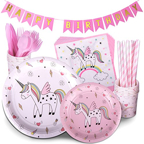 Unicorn Party Supplies Multicolor 72 Piece Pack Children's Rainbow Birthday Party Supply Set With Bonus Happy Birthday Banner By Trendy Brandy - Serves 12 (Birthday Party Banner)