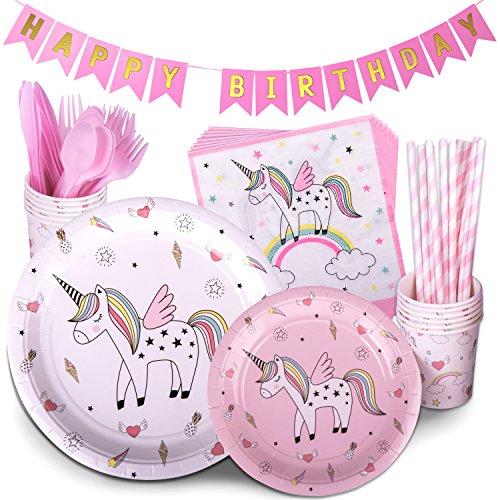 Unicorn Party Supplies Multicolor 72 Piece Pack Children's Rainbow Birthday Party Supply Set With Bonus Happy Birthday Banner By Trendy Brandy - Serves 12
