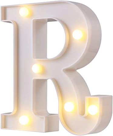LED Marquee Letter Lights, 26 Alphabet Light Up Letters Sign Perfect for Night Light Wedding Birthday Party Home Bar Decoration Christmas Lamp(White,R)