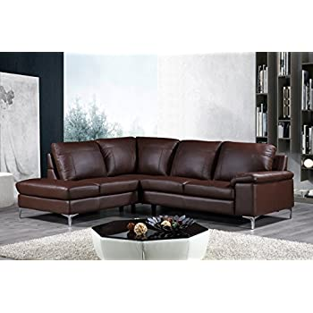 This item Cortesi Home Contemporary Dallas Genuine Leather Sectional Sofa  with Left Side Facing Chaise Lounge, Brown