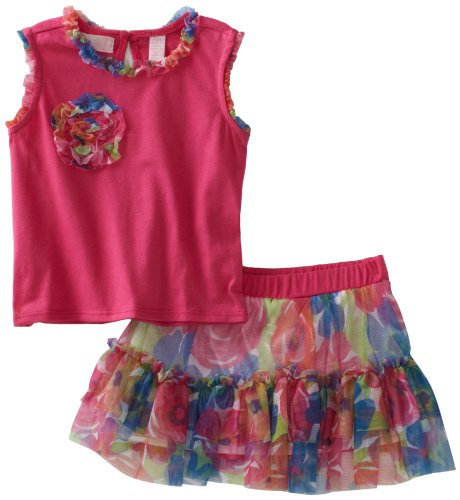 Baby Headquarters Baby Girls' Print Trim Top and Print Skort, Pink, 18 Months