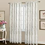 United Curtain Loretta Embroidered Sheer Window Curtain Panel, 52 by 63-Inch, White