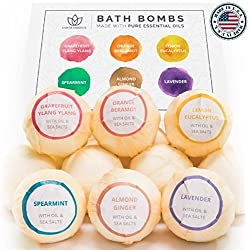 Bath Bomb Gift Set, 6 Pack - No Chemicals, No Mess Organic Bath Bombs - Lush & Nourishing - For Relaxation & Softer Skin - Fizzy Bath Bomb - Lavender & Other Pure EO Fragrances - Made in the USA