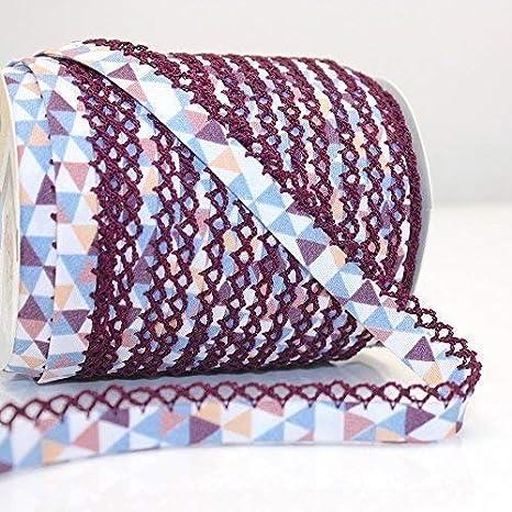 Higgs & Higgs - Triángulo Geométrico Borde de Encaje de Puntilla Bies - Azul/Berenjena Edge 608/69 - Algodón Borde Moderno Estampado Estrellas - Azul, 25m Roll: Amazon.es: Hogar