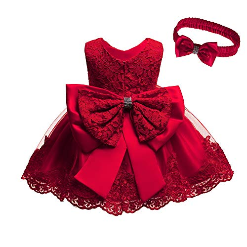 Birthday Party Dresses for Baby Girls Red Size 2 Dresses for Toddlers Sleeveless Party Wedding Dresses for Girl Formal Tutu Lace Dress Knee Length Party Dresses for Little Toddler Girls (Red 24M) (Dresses For Toddler Girls Wedding)