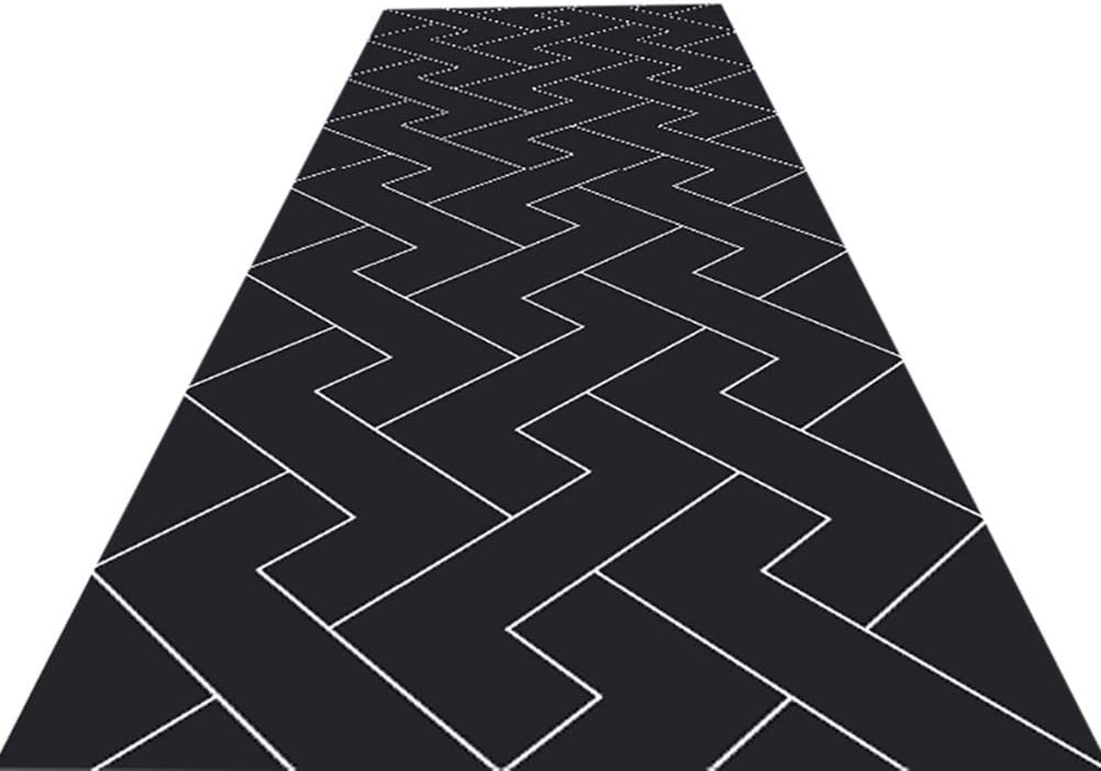 Black Carpet for Hallway, Soft, Non Skid, Machine Washable Runner Rug, Kitchen Rug Runners with Rubber Backing (Size : 100X400cm)