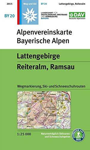 Lattengebirge, Reiteralm, Ramsau: Wegmarkierung, Ski- und Schneeschuhrouten- Topographische Karte 1:25000 (Alpenvereinskarten)