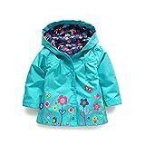 child raincoat - SODIAL(R) Children Hooded Jacket Boys Girls Jackets Coats Children's Coat Spring/Autumn Fashion Children Flower Raincoat Clothing(Blue 2T=90CM)
