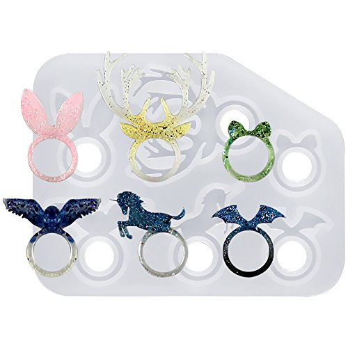 Funshowcase Kawaii Animal Stacking Ring Silicone Mold for Liquid Clay Crafting, Resin Epoxy, Jewelry Making 17mm Size 13-14
