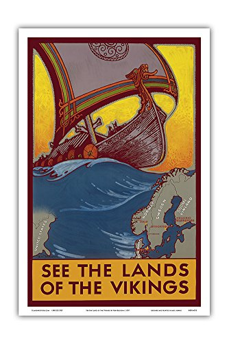 See the Land of the Vikings - Map of Scandinavia - Viking Ship - Vintage World Travel Poster by Ben Blessum c.1937 - Master Art Print - 12in x 18in
