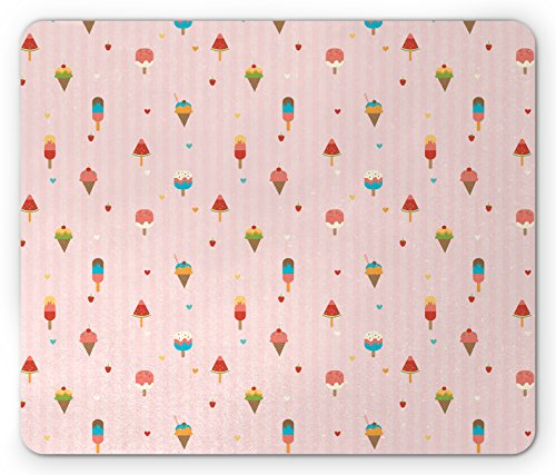Cone Pads (Ambesonne Ice Cream Mouse Pad by, Pastel Pink Striped Backdrop with Hearts Different Toppings on Sticks and Cones, Standard Size Rectangle Non-Slip Rubber Mousepad, Multicolor)